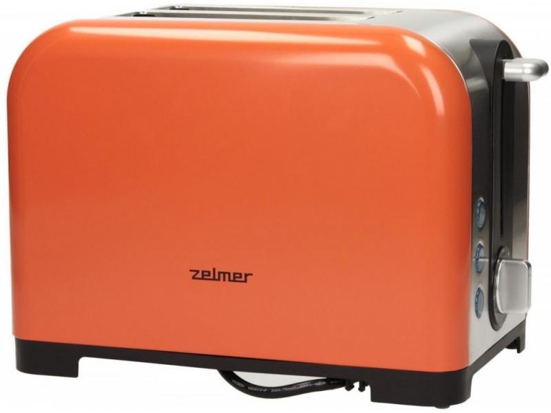 Prajitor de paine Zelmer TS1600, 850 W, 2 Felii, Portocaliu/Inox
