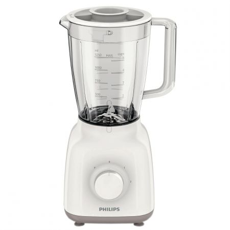 Blender Philips HR2100/00, 400W, 1.25 l, 2 viteze, Alb/Bej
