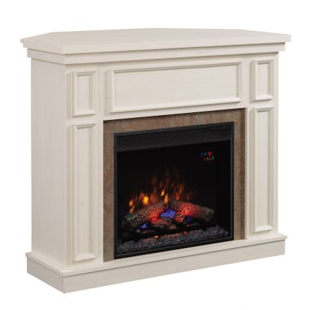 Semineu electric ClassicFlame Newcastle de colt/perete, cu focar 23″, Antique White cu sunet