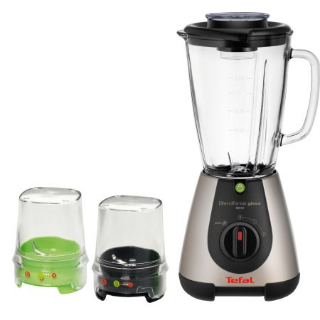 Blender Tefal BlendForce Glass Tripl'Ax BL313A38, 500 W, 1.25 l, 2 viteze, Negru/Inox