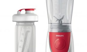 Mini blender Philips Daily Collection HR2872/00, 350 W, 0.6 l, 1 Viteza, Rosu/Alb