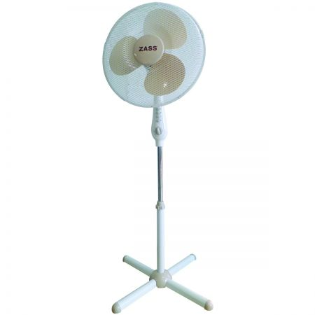Ventilator cu picior Zass ZFT 1602, 50W, 3 viteze, timer, 41cm diametru, Alb