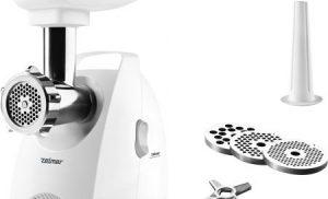 Masina de tocat Zelmer ZMM5588W, 2000W, 2,5 kg/min, 3 site, Accesoriu carnati, Functie Reverse, Alb