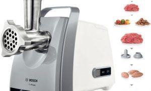 Masina de tocat carne Bosch MFW45020, 1600 W, 2.7 Kg/min, Alb/Gri