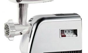 Masina de tocat carne meister Hausgerate, HRH3250R, Putere 1500 W, 3 tipuri de discuri de taiat, Accesoriu pentru rosii, kebbe si carnati, Capacitate mare de tocare, Culoare – Inox, Design – Vintage