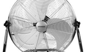 Ventilator de podea Hyundai, HY FGD 18, Putere: 100W, Trepte de viteza: 4 Comenzi actionate prin apasare, Grila protectie tip plasa -Diametru : 45cm, Inclinare ventilare reglabila pe plan vertical, Baza sustinere de Tip Pardoseala, Inox