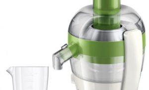 Storcator de fructe si legume Philips Viva Collection HR1832/52, 500 W, Recipient suc 0.5 l, Recipient pulpa 1 l, 1 Viteza, Tub de alimentare 55 mm, Alb/Verde
