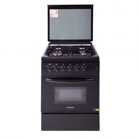 Aragaz Serreno SER 6060BK GE, Mixt, 4 arzatoare, Cuptor electric cu termostat si ventilator, Aprindere automata arzatoare plita, 57 cm, Negru