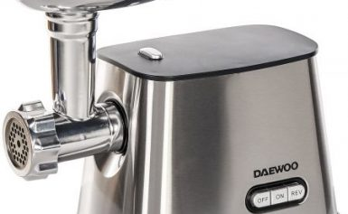 Masina de tocat carne Daewoo DMG099, 1300 W, 1 kg/min, 3 discuri taiere, accesoriu pentru carnati, lama taiere din inox, protectie supraincalzire, Inox/Negru