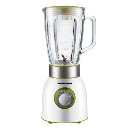 Blender de masa Heinner Charm, 1000W, 1.5L, 2 viteze, bol sticla, Alb/Verde