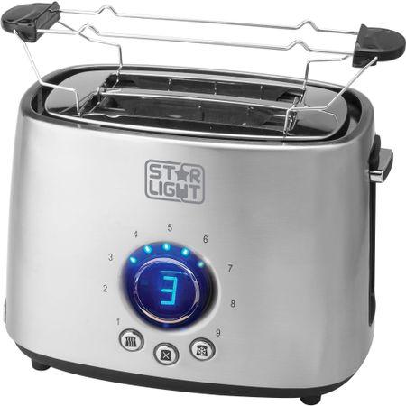 Prajitor de paine Star-Light TDD-1000SS, 1000 W, 2 felii, Grad de rumenire ajustabil, Functie dezghetare, Inox