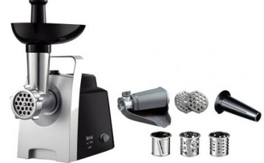 Masina de tocat carne Tefal HV1 NE109838, 1400W, 1.7 kg/min, accesorii incluse, functie reverse, Inox