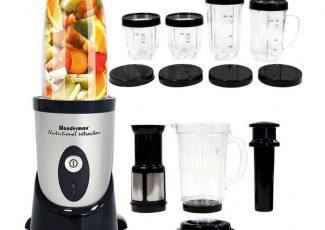 Wondermax Full Pack: Blender de mixat și mărunțit + Set pentru sucuri + Set family: 4 căni cu capac